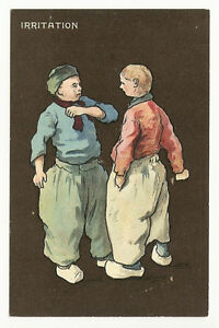 COMIC-TUCK-POSTCARD-2-DUTCH-BOYS-IRRITATION-QUAINT-HOLLANDER-SERIES-6709