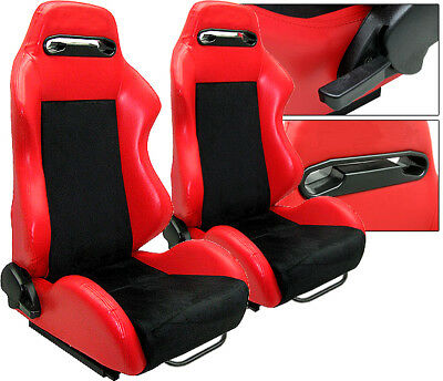 NEW 2 Red & Black Racing Seats RECLINABLE w/ SLIDER ALL Mitsubishi