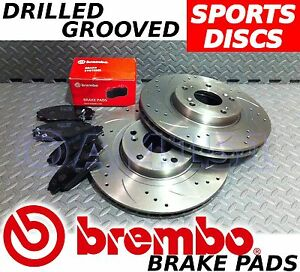 Honda-CRV-01-06-CDTi-Vtec-282mm-Drilled-Grooved-FRONT-Brake-Discs-BREMBO-Pads