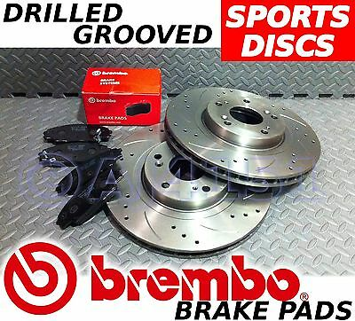 For Impreza 05-on 326mm 114pcd - Drilled & Grooved FRONT Brake Discs BREMBO Pads