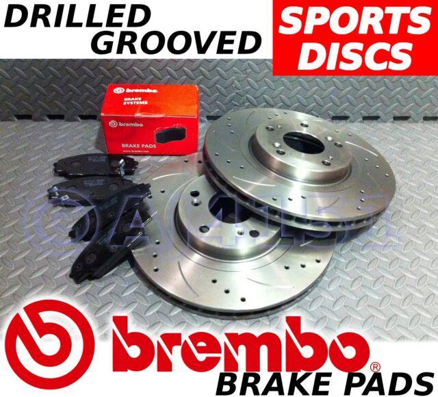 RENAULT Megane MK2 (saloon etc.) Drilled & Grooved FRONT Brake Discs BREMBO Pads