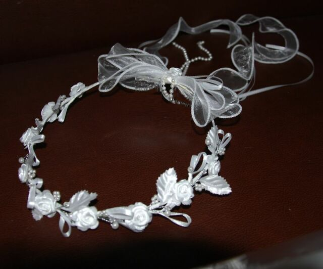 Kopfschmuck Haarkranz Haarschmuck weiss  zum Kommunionkleid Kleid Hochzeit  neu
