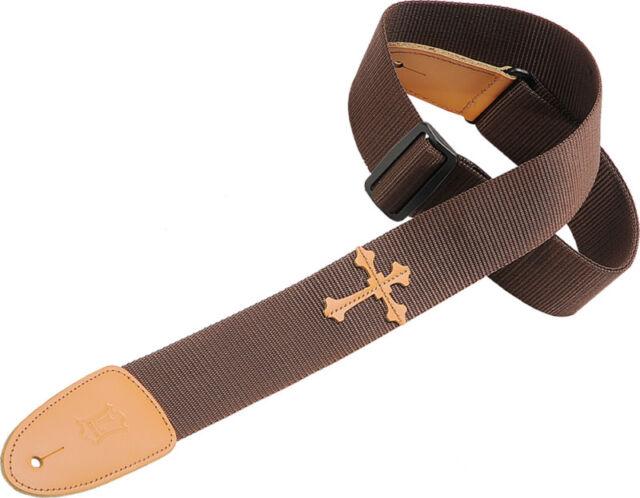 Levy's Brown Poly Christian Cross Guitar Strap DM5HC-BRN