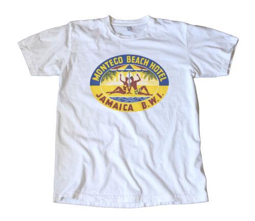Vintage Montego Beach Jamaica Travel Decal T-Shirt