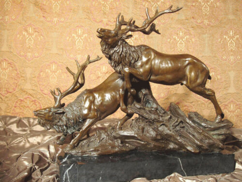 Genuine Bronze Metal Statue on Marble Elk Caribou Deer Hunt Lodge Art Sculpture