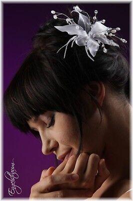 (KOK12) Blume auf Haarnadel Perle Haarschmuck Feder Hochzeit Kommunion NEU