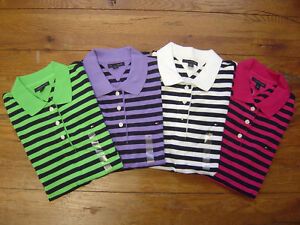 New-NWT-TOMMY-HILFIGER-Womens-SS-Polo-Stripes-Shirt-Top