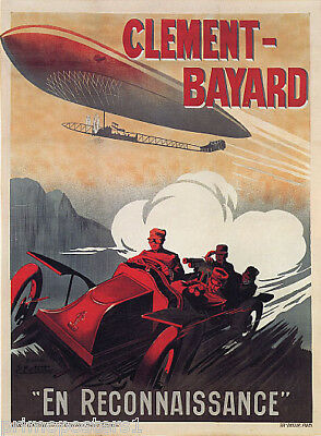 ZEPPELIN AIRSHIP AUTOMOBILE AEROPLANE CLEMENT BAYARD FRENCH VINTAGE POSTER REPRO