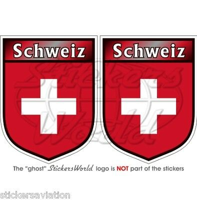 "SVIZZERA Schweiz SWISS Suisse Adesivi in Vinile per Auto 75mm (3"") Stickers x2"