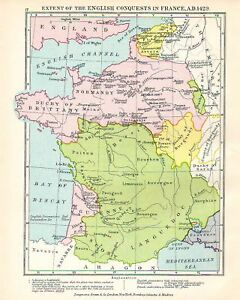 Map Of France In English.Victorian Map Extent English Conquest In France 1429 Ebay
