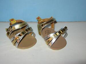 Build-A-Bear-Workshop-Silver-amp-Gold-Strap-Sandals-Pair-Bear-Accessory