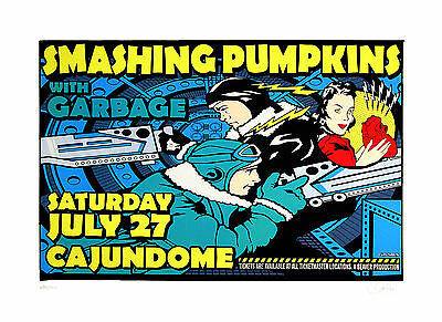 Smashing Pumpkins Garbage 1996 Original Concert Poster Uncle Charlie Art S/N