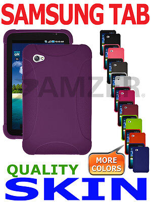 Amzer Purple Silicone Skin Jelly Case Gel Cover For Samsung Galaxy Tab GT- P1000