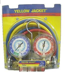 Yellow-Jacket-42006-Series-41-Manifold-w-3-1-8-Gauges-For-R22-R134A-R404A