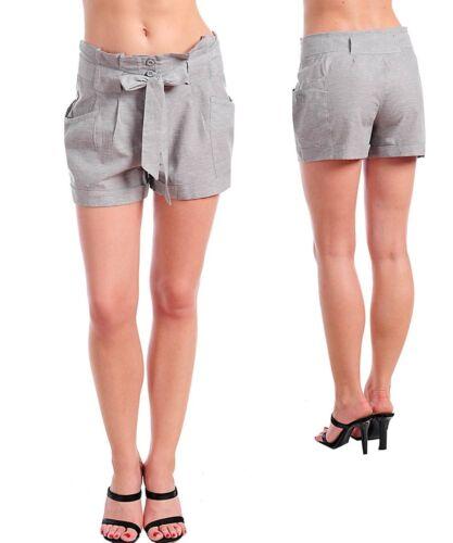 Details about  /Womans Hot pant wide waist career shorts Linen cotton
