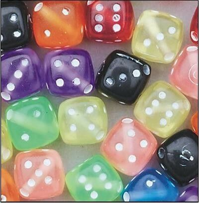 20 Plastic Dice Beads Assorted Colors Craft Kid Fun!!