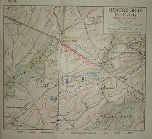 MAP/BATTLE PLAN ~ QUATRE BRAS JUNE 16th 1815 SITUATION AT 3pm ~ TROOP POSITIONS