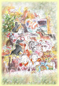 Animal-Equine-Charity-Christmas-Cards-SALE-by-Lesley-Bruce-1-2-PRICE-BARGAIN