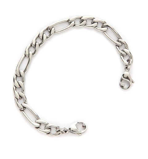 "Medical Alert ID ""Figaro"" Stainless Steel Unisex  Replacement Bracelet"