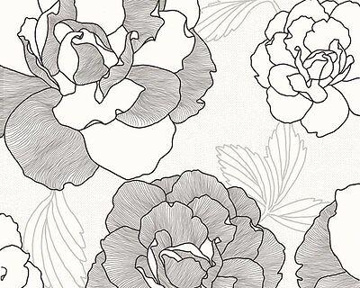 ESPRIT Tapete Vlies AS 2221-14 222114 Blumen floral grau schwarz weiß