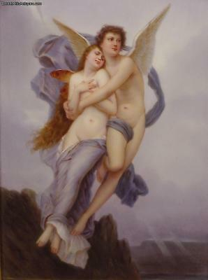 Psyche and Cupid Love Porcelain Plaque After W.A. Bouguereau