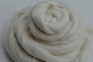 Heidifeathers-Organic-White-Merino-Wool-Top-Roving-100g-Felting-Spinning