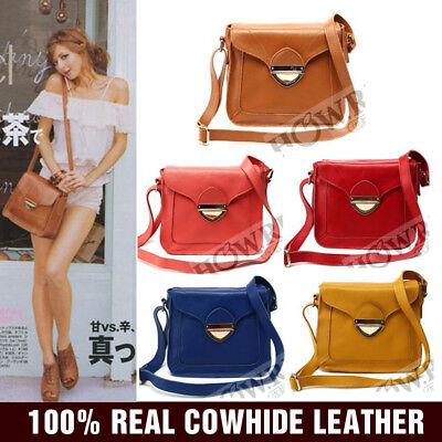 WOMEN'S REAL LEATHER BAG Vintage Satchel Small Cross Body Shoulder Purse Handbag