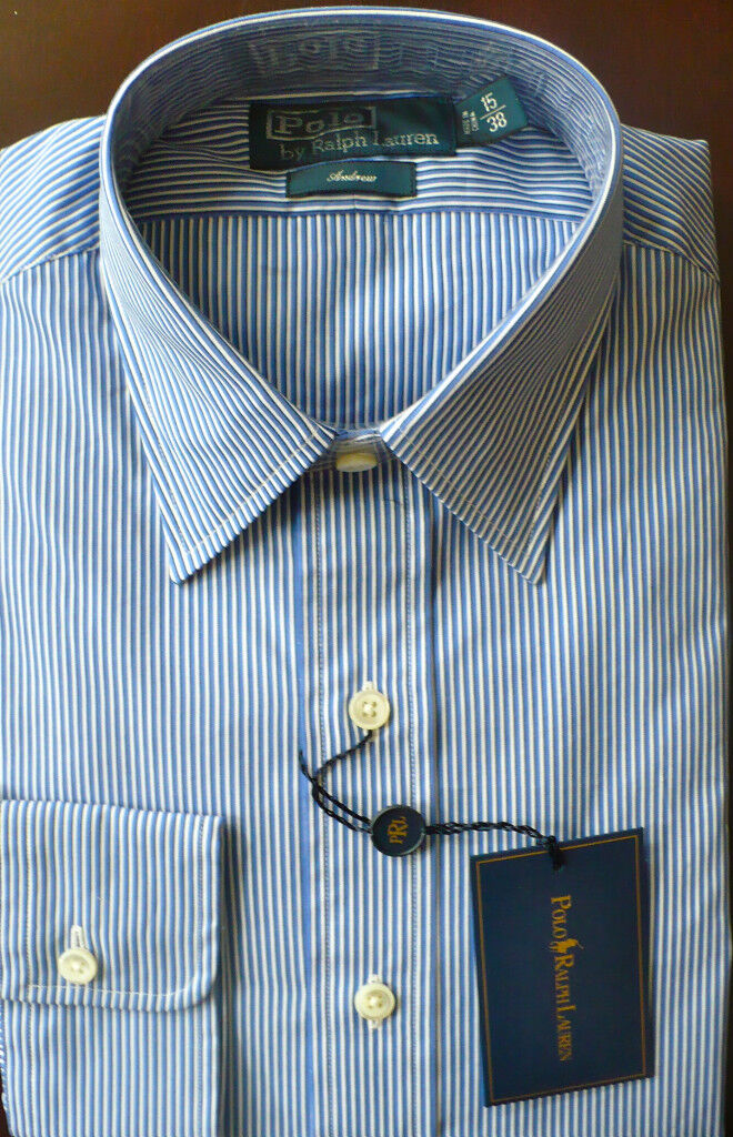 Polo Ralph Lauren Andrew Fit bluee Stripe Shirt 17 Europe size 43 MSRP 145