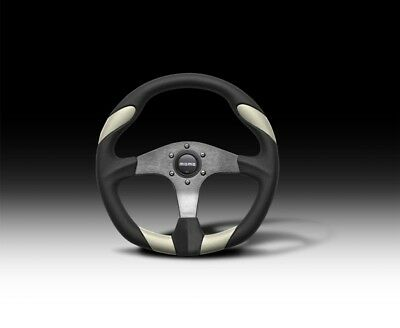 MOMO QUARK 350MM BLACK/WHITE LEATHER STEERING WHEEL