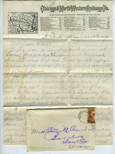 1887 fancy letterhead and letter chicago northwestern railway co