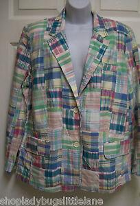 Preppy Madras Ralph Patchwork Jacket Blazer Cotton 100 Pastel Lauren Plaid Pm ZY5nB75Pq
