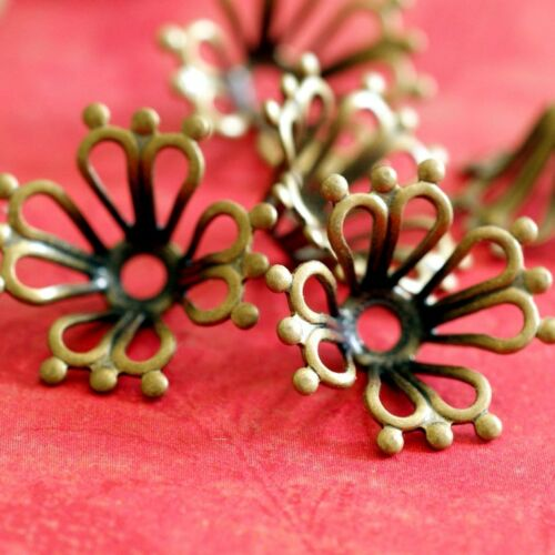 Top Quality 6pcs Antique Bronze Finish Flower Filigree Brass Bead Caps