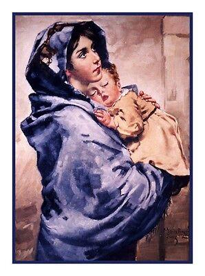 Religious Madonna Della Strada by Roberto Ferruzzi Counted Cross Stitch Chart