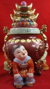 CHINESE-PORCELAIN-VASE-JAR-Footed-Characters-Dragons-Gold-Leaf-Hand-Decorated