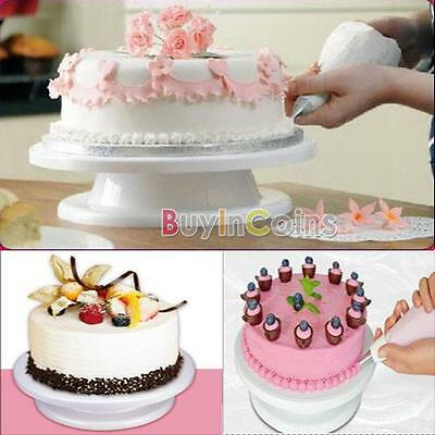 "11"" Rotating Revolving Cake Sugarcraft Turntable Decorating Stand Platform HK"