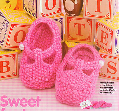 Cute Moss Stitch Baby Booties/Shoes with T Strap 3 - 6 mths DK Knitting Pattern