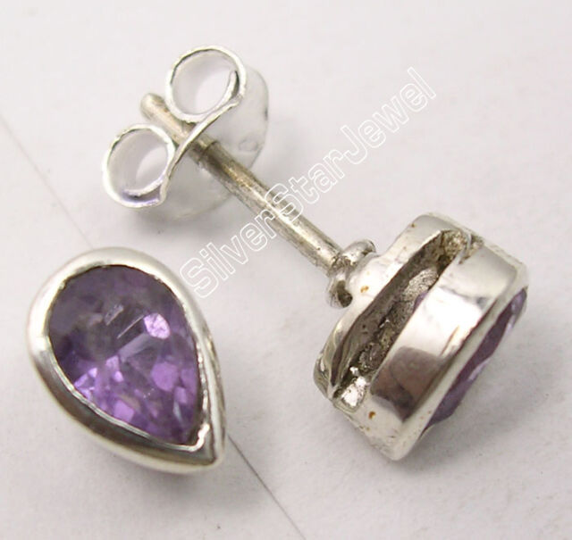 925 Pure Silver TINY DROP AMETHYST DELICATE PRETTY STUDS POST Earrings 0.8 CM