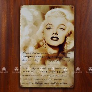 Tin Sign Wall Decor Retro Metal Art Poster Marilyn Monroe ...