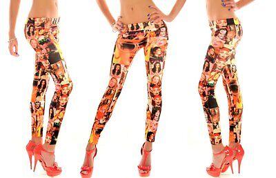 Leggings Legging lang bunt bedruckt Muster 34 36/38 Hose Damen lang Muster Comic