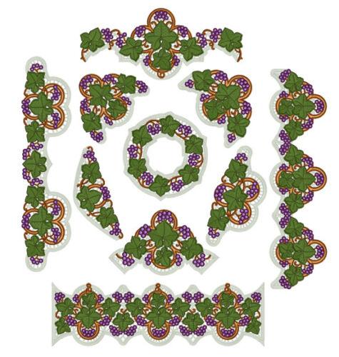 "ABC Designs Grape Lace Standalone Machine Embroidery Designs Set 5/""x7/"" hoop"