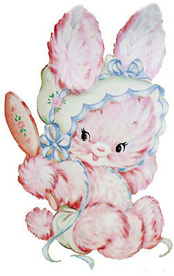 XL VinTaGe PinK KiTTY WiTH BLuE BoNneT ShaBby WaTerSLiDe DeCALs ~FuRNiTuRe SiZe~
