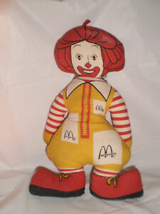 old ronald mcdonald burger cartoon cloth doll 13 1970 ebay