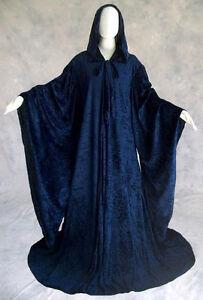 Velvet-Robe-NAVY-Blue-Wizard-Cloak-Wicca-LARP-LOTR-SCA