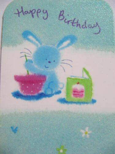 PACK OF 6 CUTE BUNNY MAKING CAKES GLITTER COATED BIRTHDAY GREETING CARDS