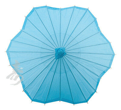 """32"""" TURQUOISE Scalloped Shaped Paper Parasol handmade bamboo rice paper umbrella"""
