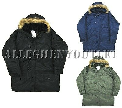 Cold Weather Military N-3B Snorkel Parka Jacket w/ Fur Collar WATER REPELLENT