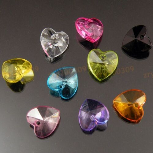 90Pcs Mixed Color Acrylic Heart Charm Pendants 14x18mm KC056