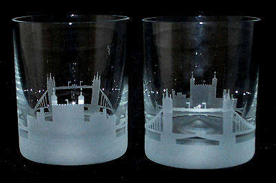 TOWER BRIDGE & TOWER OF LONDON Boxed Pair GLASS WHISKY TUMBLERS  *LONDON GIFT*