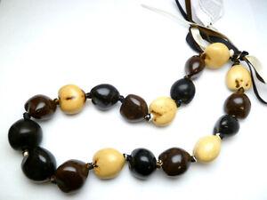 NEW-Hawaii-Wedding-Graduation-Kukui-Nut-Lei-Luau-Hula-Jewelry-Necklace-31003