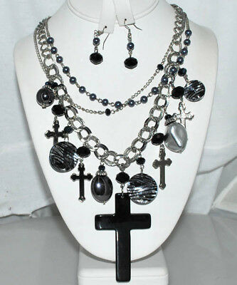 NEW MULTI LAYERED VICTORIAN CROSS CHARM NECKLACE SET